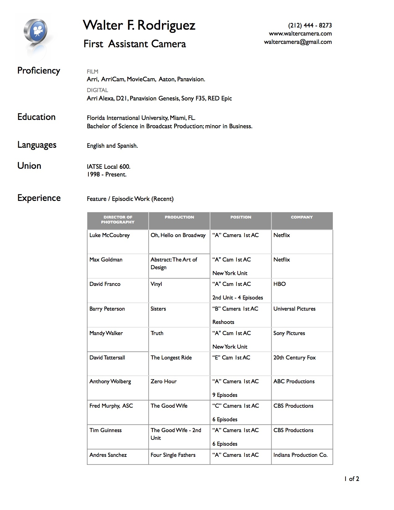 cameraassistant resume